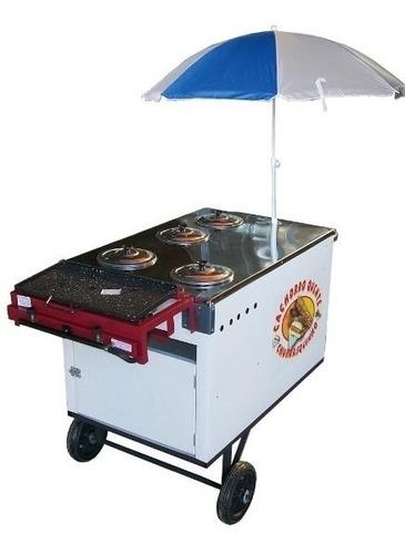 carrinho cachorro quente  fogão c/ 2 bocas chapa guarda sol