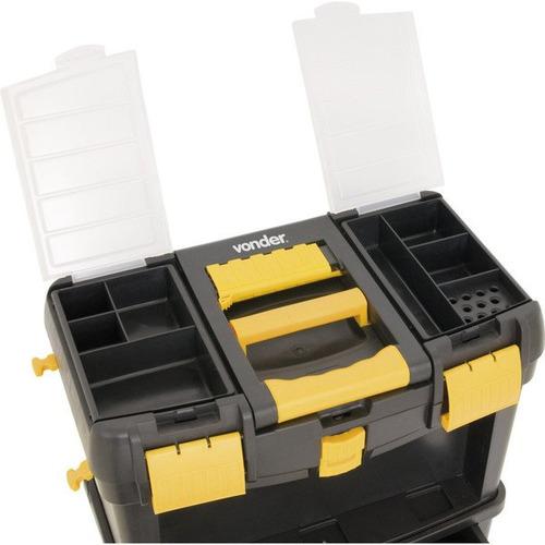 carrinho caixa bau p/ ferramentas c/ roda guarda chave vonde