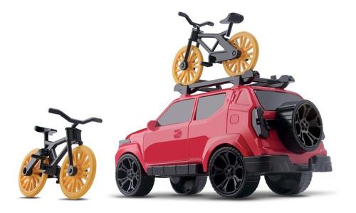 carrinho caminhonete pick up com bicicleta off road trilhas