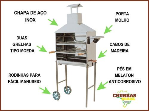 carrinho churrasco 80 espetinho churrasqueira inox 2 grelhas