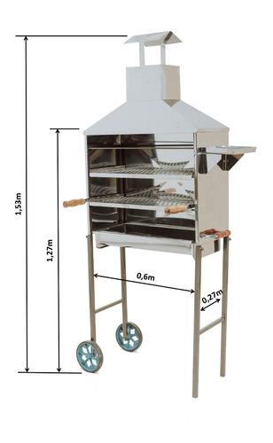 carrinho churrasco espetinho churrasqueira inox 2 grelhas