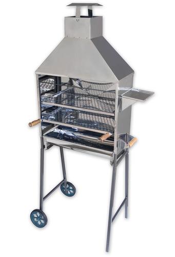 carrinho churrasqueira 80 espetinhos espeto churrasco inox