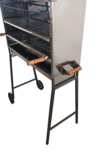 carrinho churrasqueira inox 150 espetinhos 2 grelhas inox