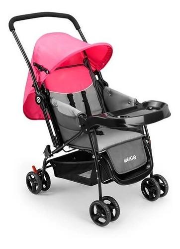 carrinho de bebê berço com bandeja nap rosa weego - 4013