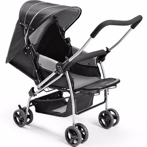 carrinho de bebê berço flip cinza multikids baby + brinde