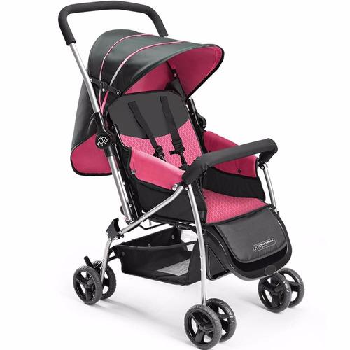 carrinho de bebê berço flip rosa multikids baby + brinde