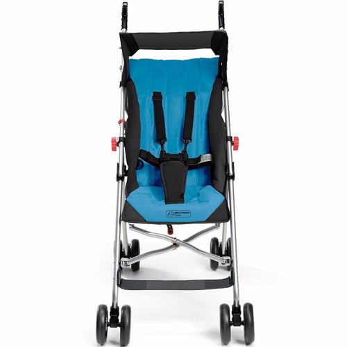 carrinho de bebê guarda-chuva pocket azul multikids + brinde