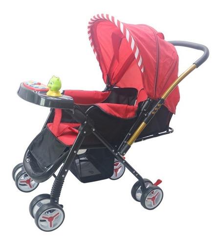 carrinho de bebe vira berço alça reversível vermelho unisex
