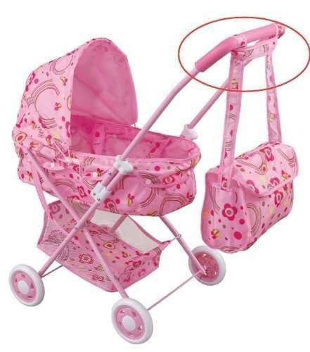 carrinho de boneca bebê reborn ninos + bolsa tira colo alive
