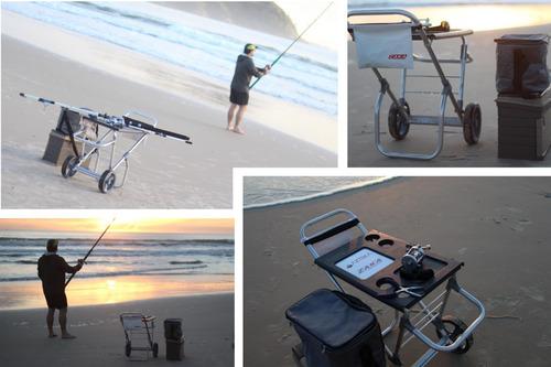 carrinho de pesca alumínio fish car vara pescaria zaka