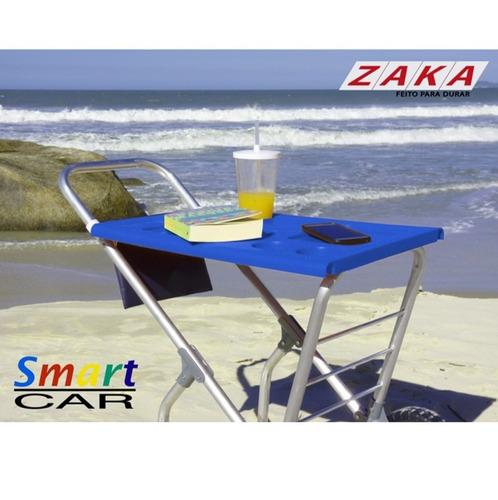 carrinho de praia com avanço p/ caixa térmica multiuso zaka