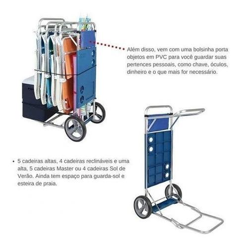 carrinho de praia com avanço para caixa termica - mor