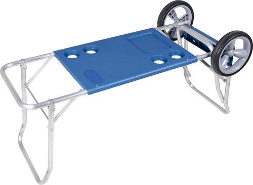 carrinho de praia e mesa com avanço caixa térmica 2499 - mor