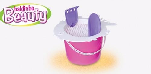 carrinho de praia infantil menina + baldinho c/ ferramentas
