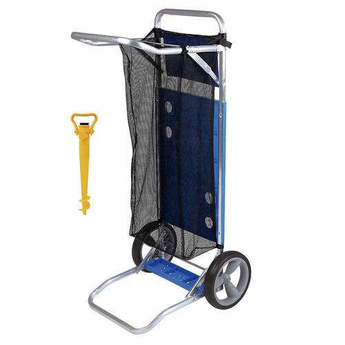 carrinho de praia para cadeira com saca areia e rede - mor