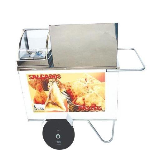 carrinho de salgados e pastel com estufa rodas pneumáticas
