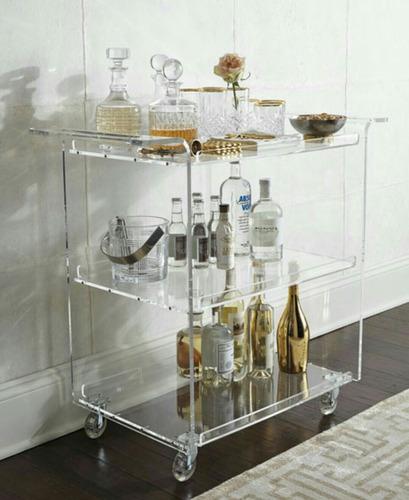 carrinho decorativo para bebidas em acrílico
