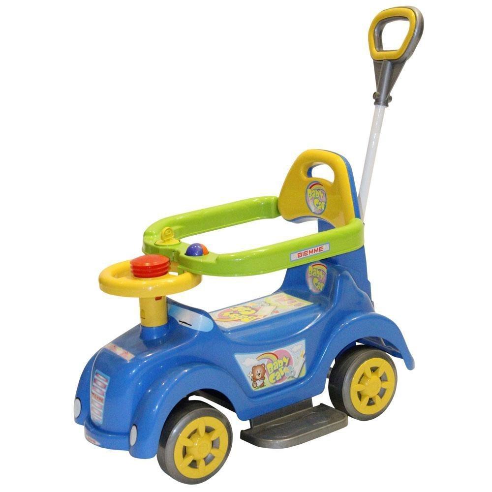 Carrinho Infantil Mini Veículo Com Empurrador Azul Biemme
