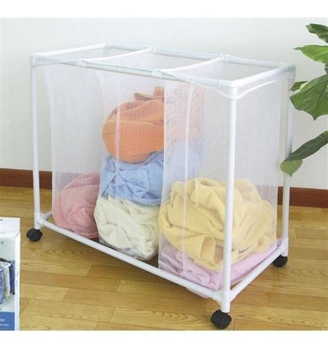 carrinho lavanderia triplo roupeiro organizador roupas sujas