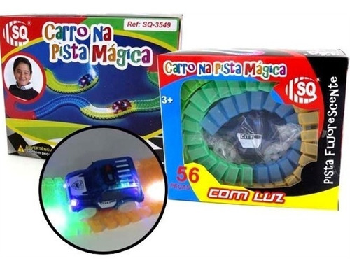 carrinho magic flash track com luz pista magica brilha 56pçs