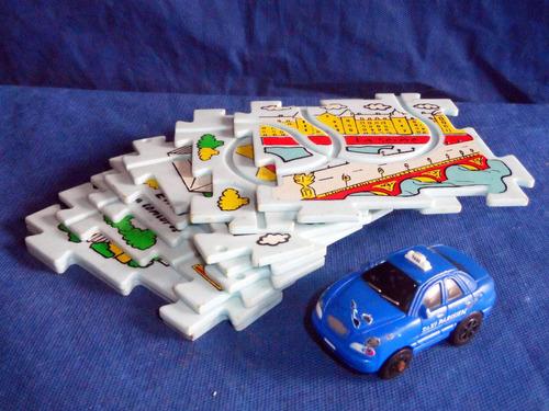 carrinho miniatura com pista quebra cabeça usados 7cm