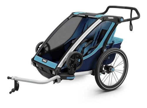 carrinho para gêmeos multi.thule chariot cross.2 blue -thule