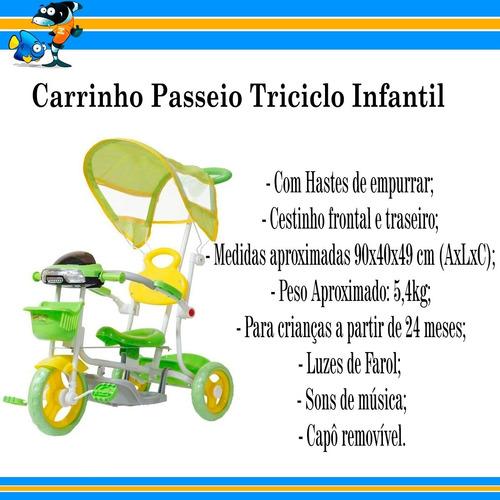 carrinho passeio triciclo infantil com empurrador cobertura