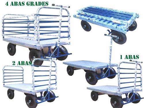 carrinho plataforma transbloco 150x80x4 aba removiveis 800kg