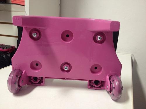 carrinho rosa / preto 40 cm escolar alumínio rodinha mochila