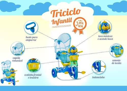 carrinho / triciclo  bebe (infantil) 3 em 1 cabeça cachorro