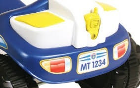 carrinho velotrol empurrador bebê 2 anos azul policia 2703