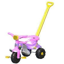 carrinho velotrol motoca tico tico c/ aro festa rosa