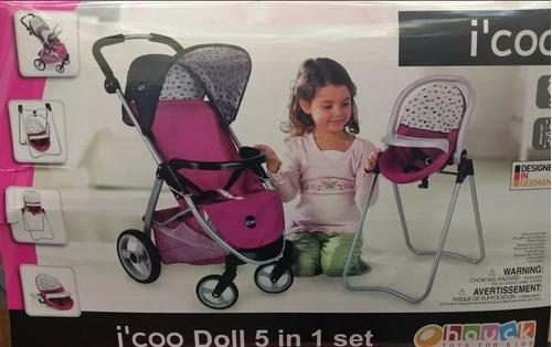 carriola y silla para muñecas set 5 en 1 nuevo original