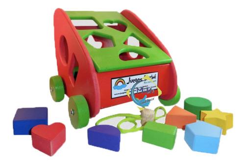 carrito andador arrastre encastre didactico artesanal niño