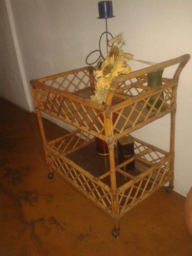 carrito bar de bambu