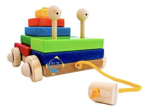 carrito bichito arrastre encastre didactico artesanal niño