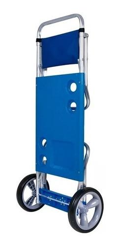 carrito carro playero porta reposeras sillas sombrilla mesa