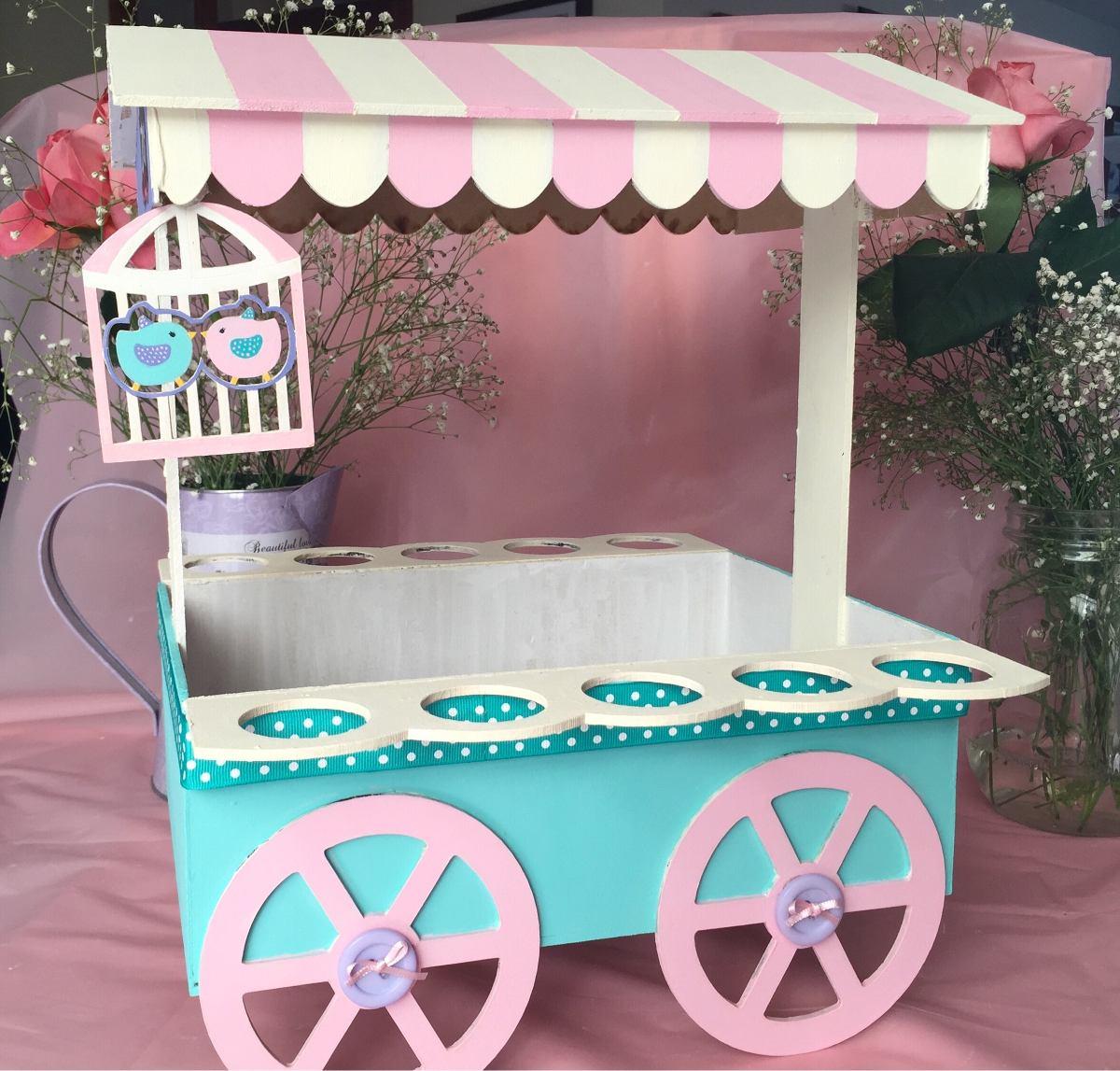 Carrito de dulces p mesa de postres candy bar centro de for Carrito bar de madera