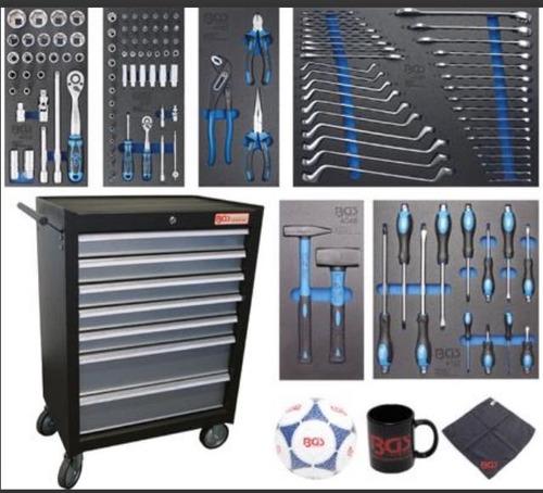carrito de herramientas de 7 cajones equipado con 129 piezas