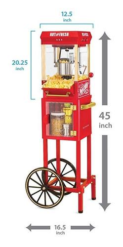carrito de palomitas de maíz crispetera 10 tazas