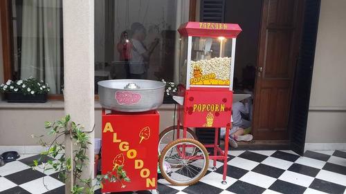 carrito de pochoclos,copos de azucar,cascadachocolatepanchos