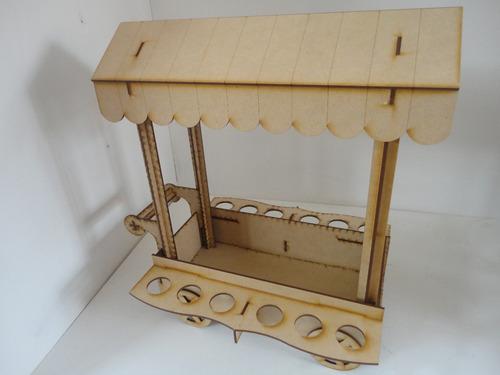 carrito dulcero portaconos 12 piezas mdf centro mesa