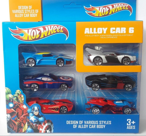 carrito hotwheels avengers carro hot wheels para niños set 6