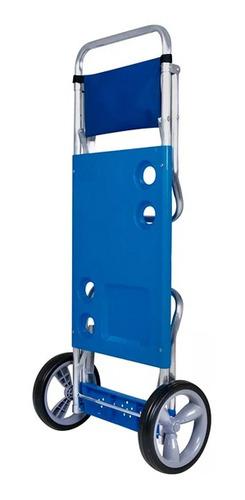 carrito mesa de playa portatil plegable aluminio mor
