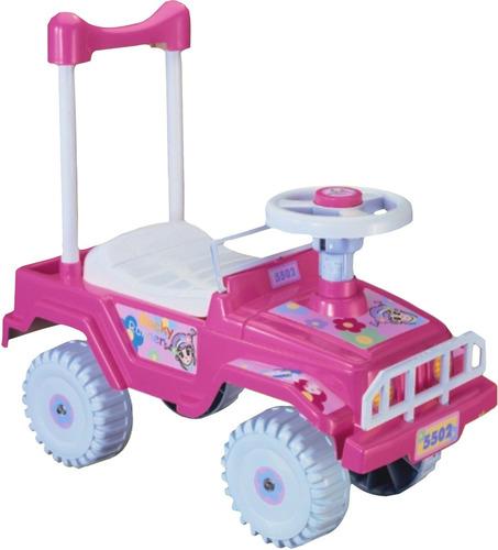 carrito montable rocky rosa sonido en claxon