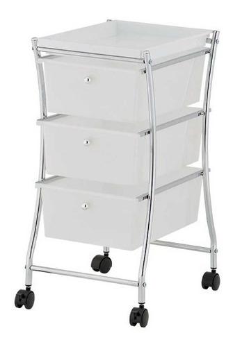 carrito organizador 3 cajones c ruedas plastico acero namaro