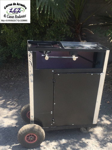 carrito para comida con fogon y churrasquera