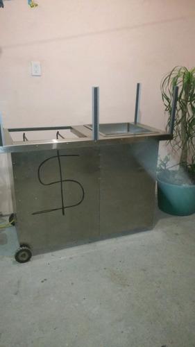 carrito para tacos al vapor y parrilla de acero inoxidable