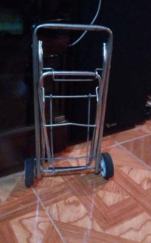 carrito para transporte metalico cromado plegable muy bueno