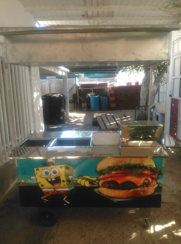 carrito perrero trifuncional: perros, hamburguesas y freidor